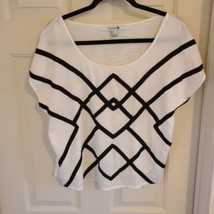 Forever 21 Oversize Cream Top with Black Design